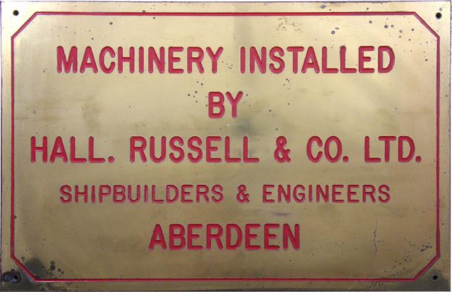 Ship Builder's Plaque, Hall. Russell & Co. Ltd., Aberdeen