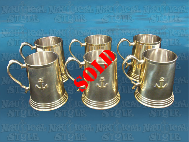 Set of Six Nautical Themed Brass & Pewter Tankards, 350 ml
