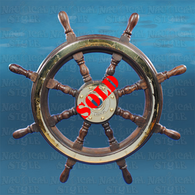 "Ships Wheel, Rosewood and Brass - 8 Spoke, 75 cm (29.5"") Diameter"