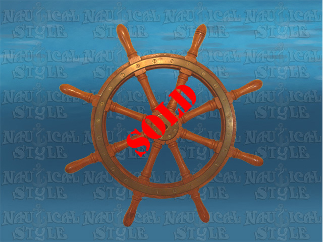 "Ship's Wheel, Teak and Brass - 8 Spoke, 72 cm (28.3"") Diameter"