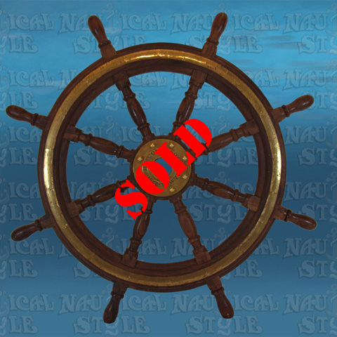 "Ships Wheel, Rosewood and Brass - 8 Spoke, 90 cm (35.4"") Diameter"