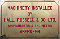 Ship Builder's Plaque, Hall. Russell & Co. Ltd., Aberdeen
