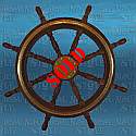 "Ships Wheel, Rosewood and Brass - 8 Spoke, 90 cm (35.4"") Diameter"
